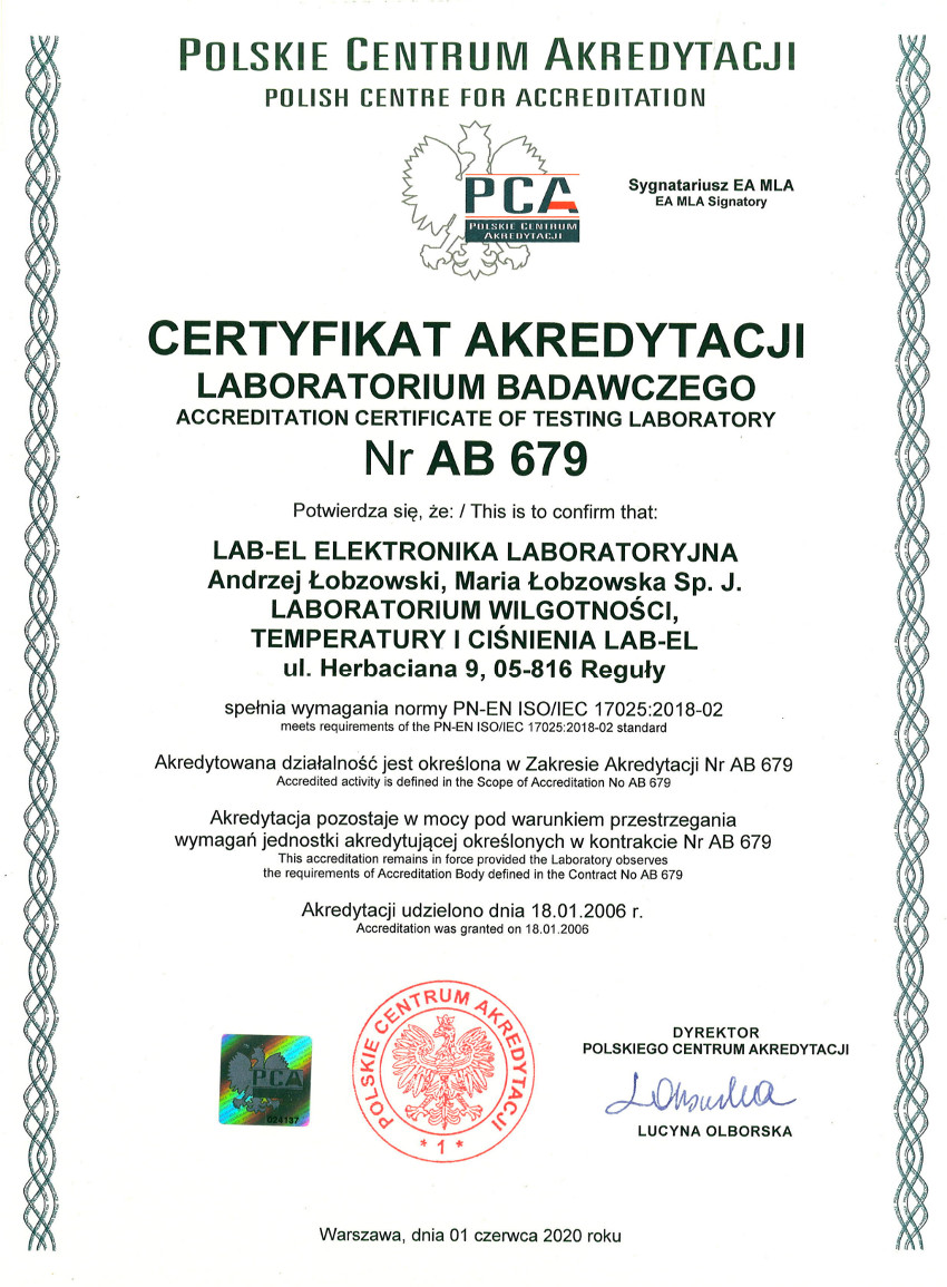 Certificete for testing microclimate