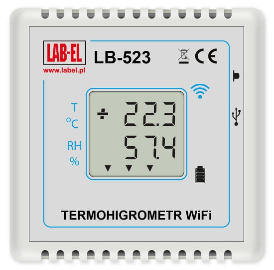 LB-523 is a WiFi thermohygrometer, a wireless relative humidity and temperature recorder powered by replaceable batteries and equipped with WiFi and USB interfaces