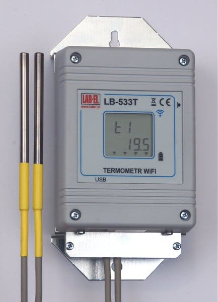 LB-533T WiFi wireless four-channel thermometer with metal supports.