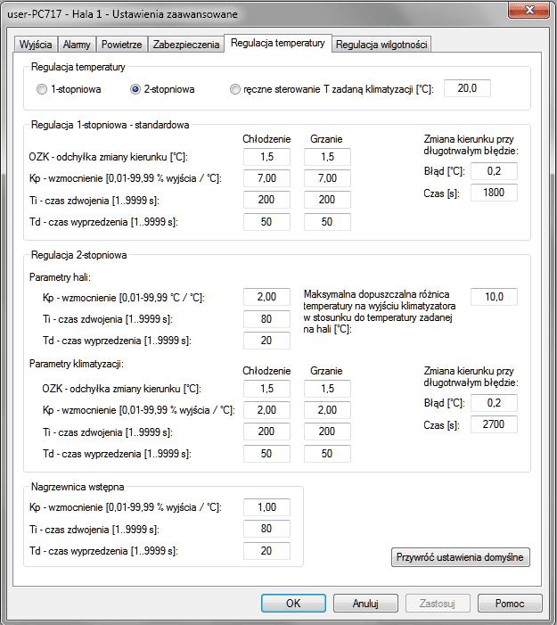 Advanced settings — temperature regulation